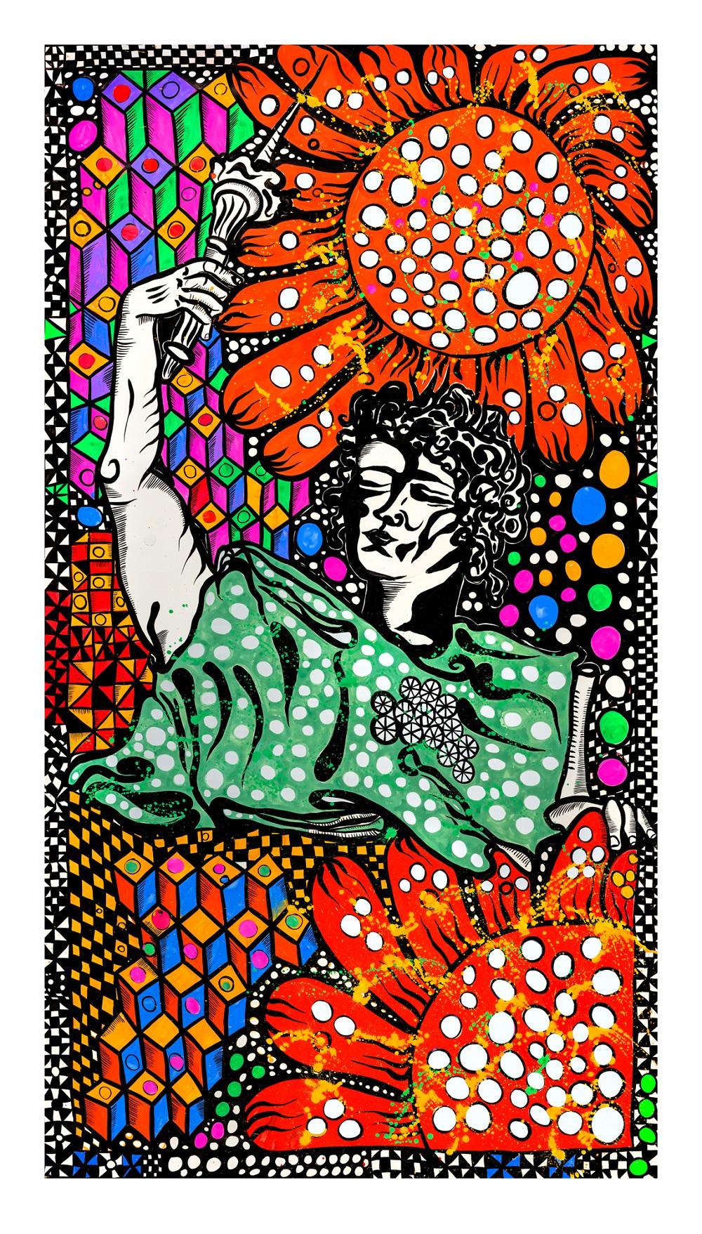 Independencia, gouache tinta y collage sobre papel, 190 x 110 cm, 2013. Foto: Dolores Ochoa
