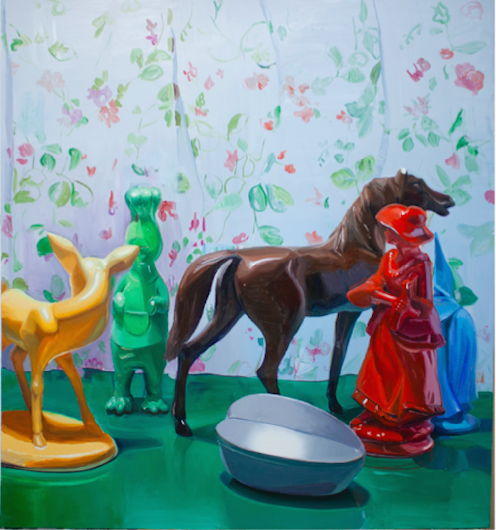Fiesta salvaje, 2015. Óleo y spray sobre tela, 162 x 146 cm