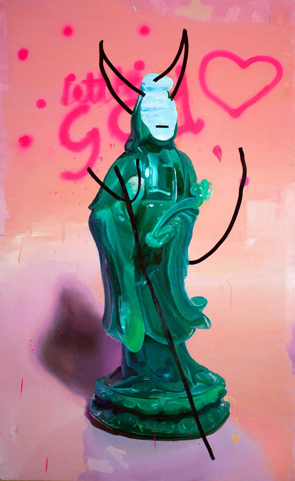 En algo hay que creer, 2015. Óleo, rotulador y spray sobre tela, 162 x 146 cm.