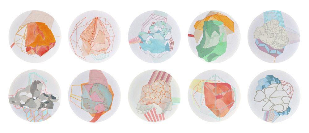 S/T (Serie Mineraliensammlung) | Acuarela, grafito y rotulador sobre papel | Ø 12 cm | 2015