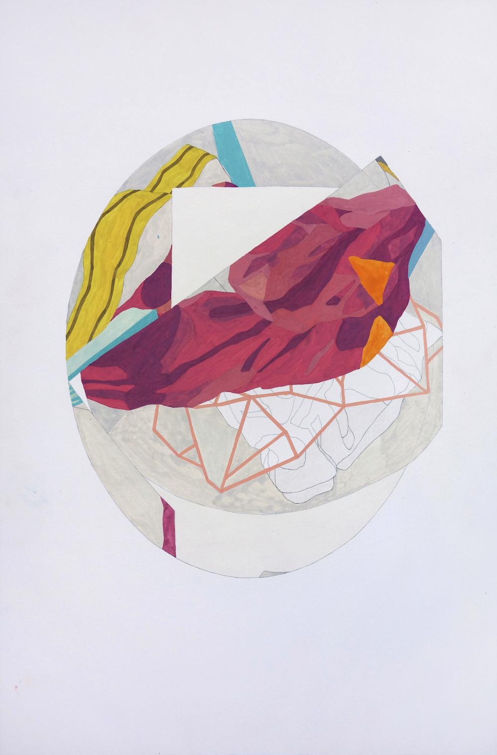 S/T (Serie Drapeados) | Gouache, acuarela y grafito sobre papel | 50 x 33 cm | 2016