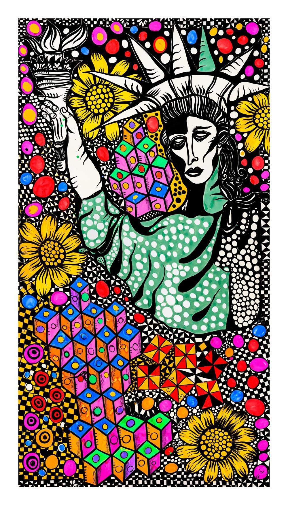 Libertad, gouache tinta y collage sobre papel, 190 x 110 cm, 2013. Foto: Dolores Ochoa