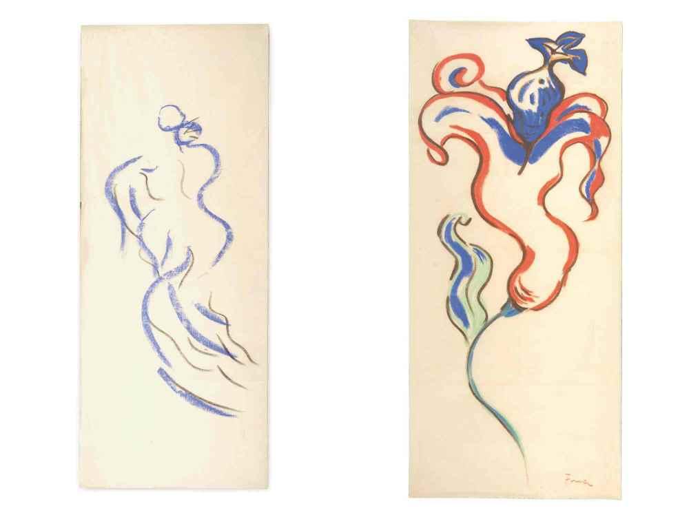 Fina Miralles. Femme d'eau, Paris, 1988 (Carboncillo y patel s. papel de arroz, 136 x 56 cm) Flor, 1991 (Pastel s. papel de arroz, 138,2 x62,5 cm)