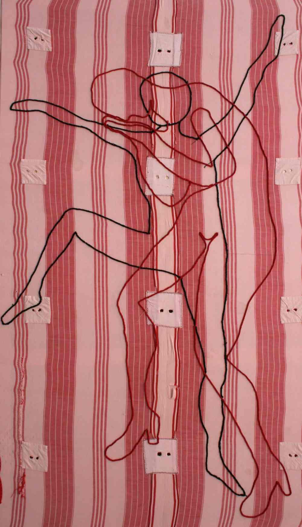 Colchón para tres II, 150x120, bordado sobre colchón de cama. Ma Jesús Manzanares.
