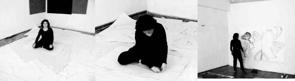 El sueño de la razón produce monstruos. Fotografías documentales de la acción selfportrait, 2009. Creación de 50 dibujos sobre papel de 120 x 80 cm en polvo de grafito.