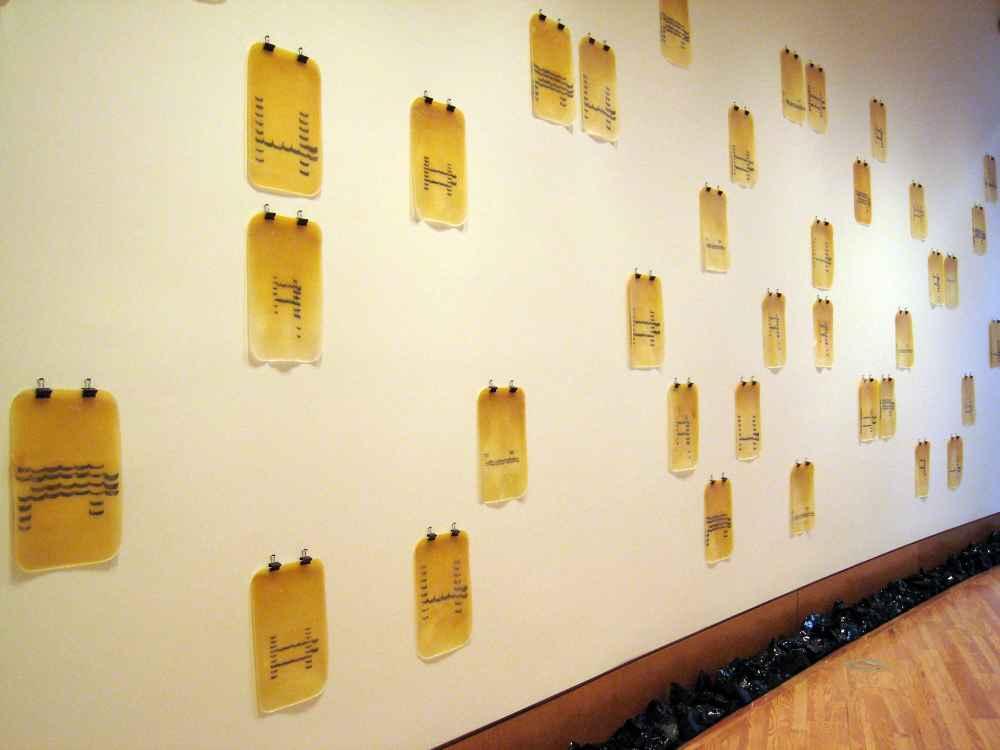 NELA OCHOA Desentierro, 2001 Láminas de latex con ADN de la artista y ganchos
