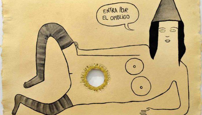 CAROL SOLAR El mal les entra por el ombligo-Acrílico y abalorios sobre papel-42x58cm-2016