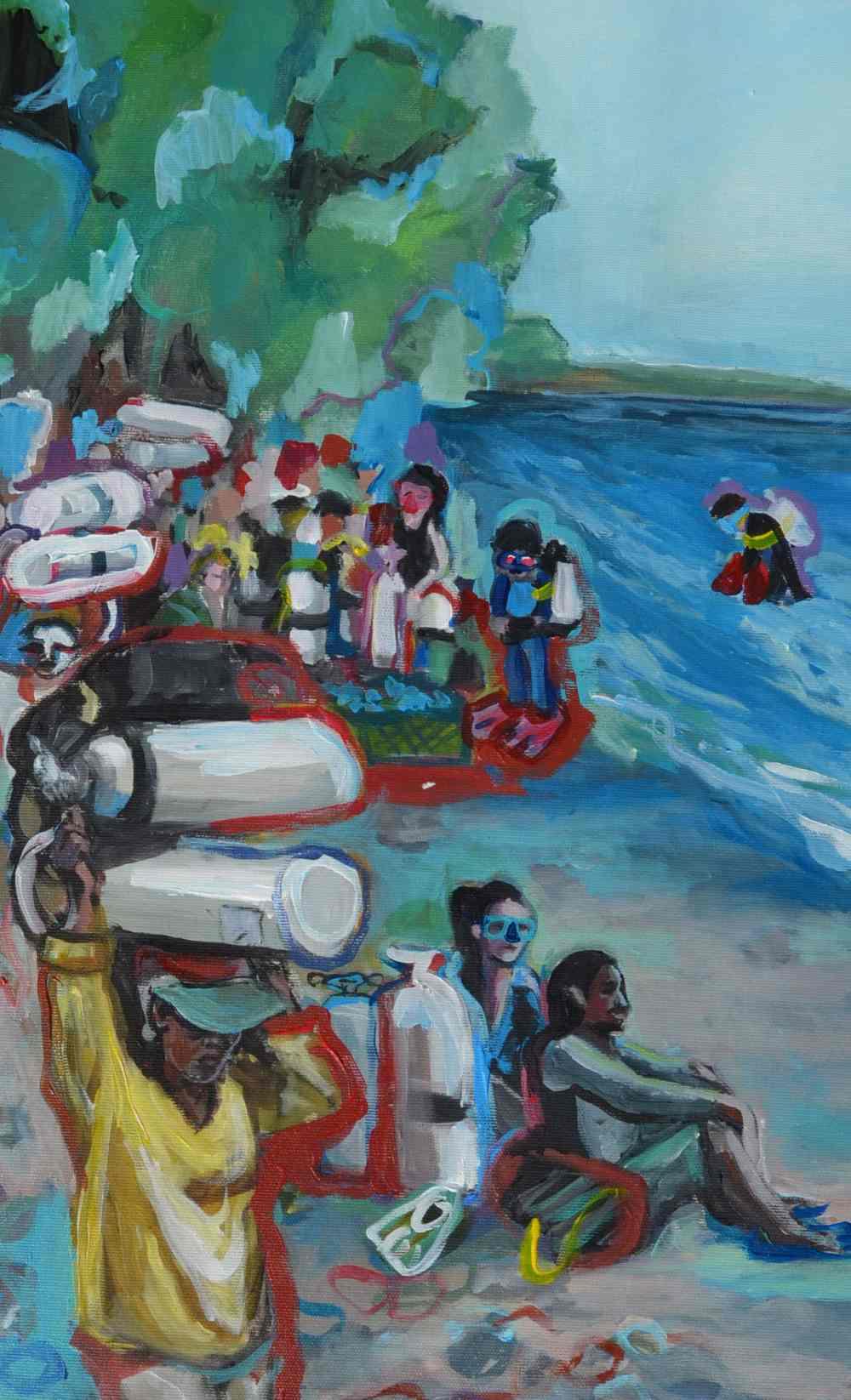 Buzos (detalle). Serie Bali. Acrílico sobre lienzo. 83,5 x 65 cm. 2019.