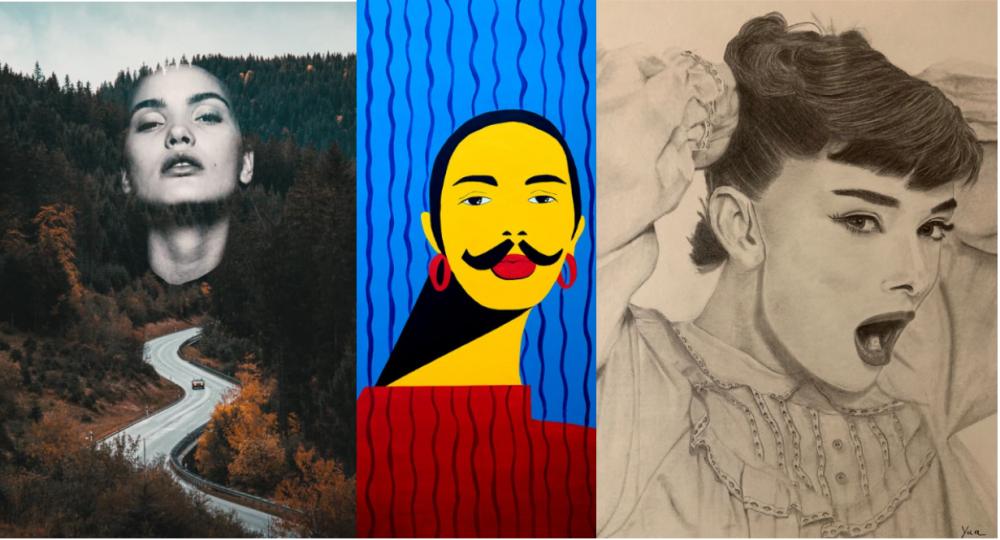 Obras de artistas de El Club de las Mujeres (In) Visibles. (Delizious, Alejandra Nores, Yua)
