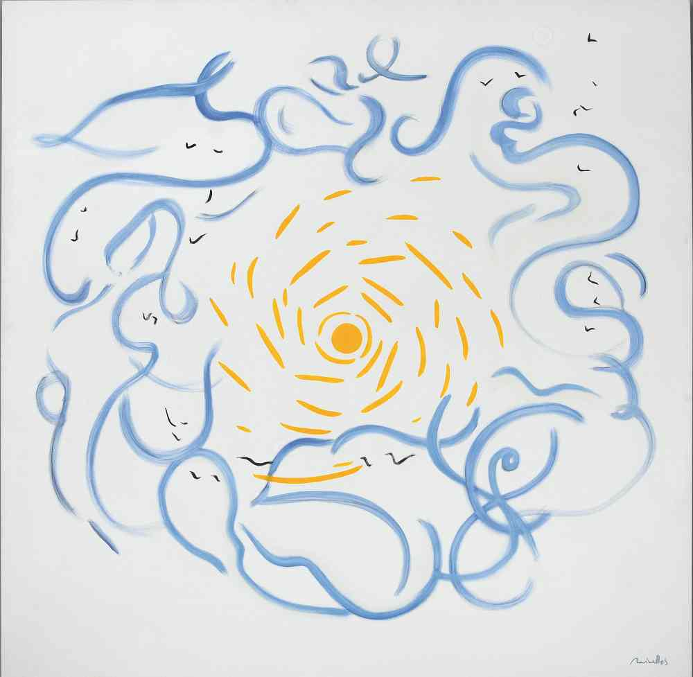 Fina Miralles. El centro es el sol, Memorial, 1996 (Óleo s. lienzo, 180 x 180 cm)