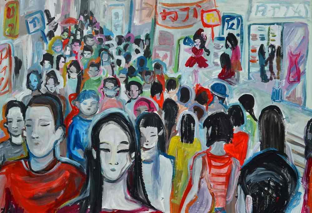 Harajuku. Serie Tokio. Acrílico sobre cartón pluma. 84 x 60 cm. 2018. ©Elvira Martos.