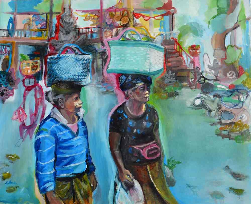 Los mandaos. Serie Bali. Acrílico sobre lienzo. 70 x 86 cm. 2019. ©Elvira Martos.