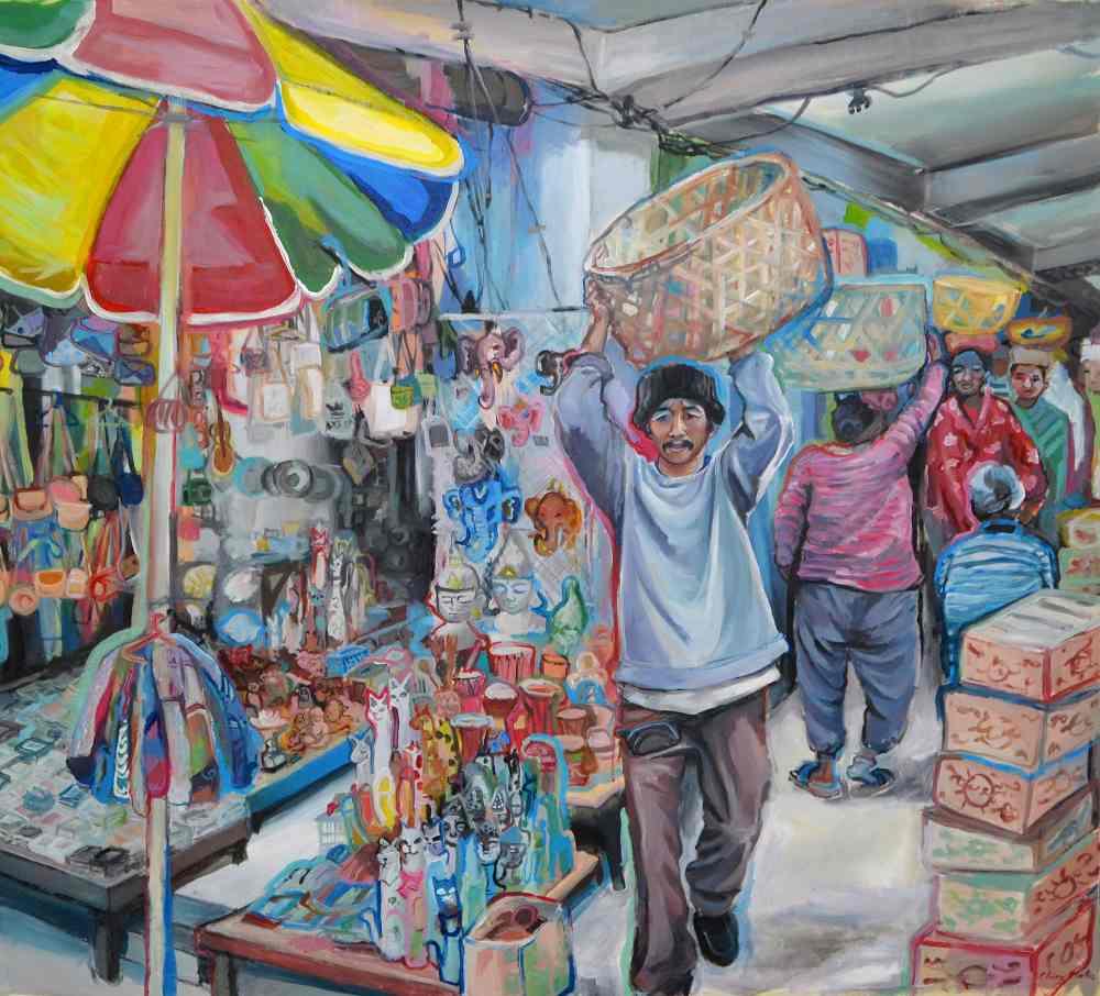 Mercado de Ubud, Serie Bali. Acrílico sobre lienzo. 139 x128 cm, 2019. © Elvira Martos.