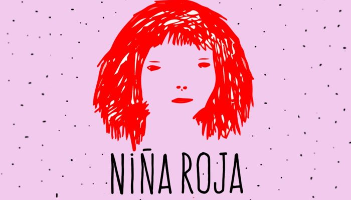 Carla Spinoza Ilustración de ©wawalspencer - invitación de la muestra NIña Roja