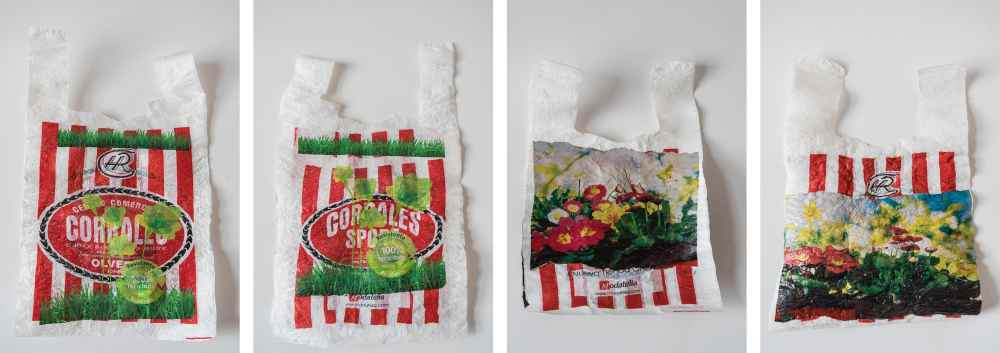 Charo Corrales. #5R_1 y #5R son tejidos creados con bolsas de plástico del negocio familiar y bolsas de plástico de consumo diario (congelados, papel higiénico ...) 100 % hechas con materiales de deshecho. Estos tejidos son reversibles, y se puede coser para crear otros objetos. Estas piezas se han mostrado en VII Certamen Reciclar-Arte, en el museo Arqueológico de Almería, del 6 de junio al 1 de julio 2019. Medidas: #5R_1: 31 x 48 cms; #5R_2: 24 x 33 cms.