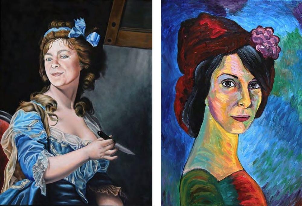 Feminismo Mágico. Una conexión con el pasado. Marina Vargas como Marie-Gabrielle Capet (1761-1818), 73 x 64 cm. Diana Larrea como Marianne von Werefkin (1860-1938), 55 x 38 cm.
