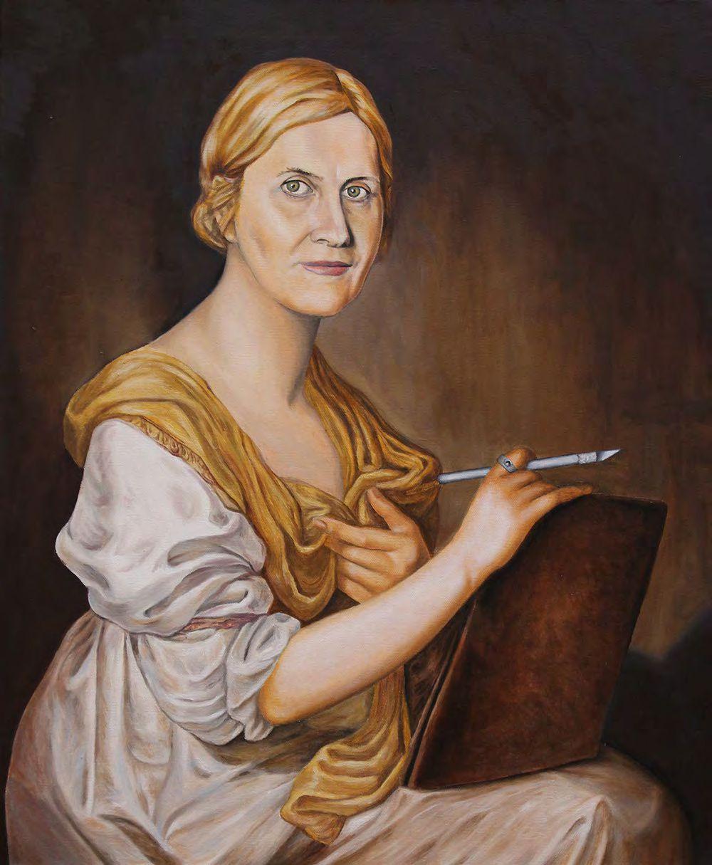 """Feminismo Mágico. Una conexión con el pasado. Aurora Duque como Angelica Kauffmann (1741-1807)"""", 73 x 60 cm."""