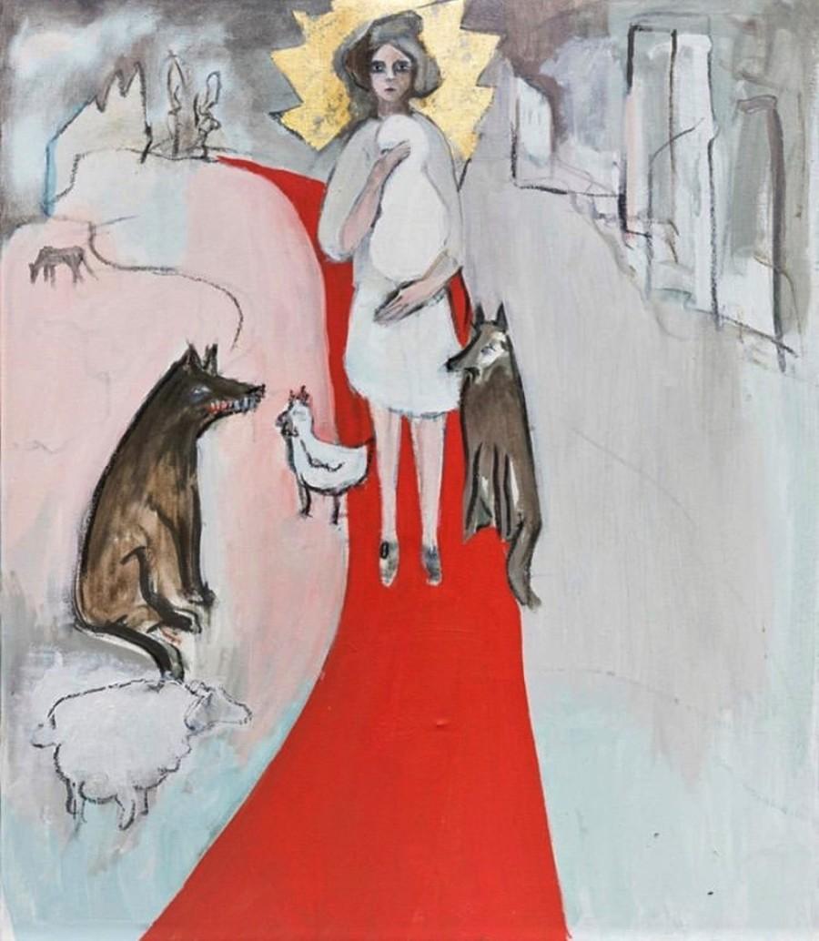 """BREZA CECCHINI RÍU """"Camino rojo """", Óleo y pan de oro sobre lienzo, 65 x 54cm, 2017"""