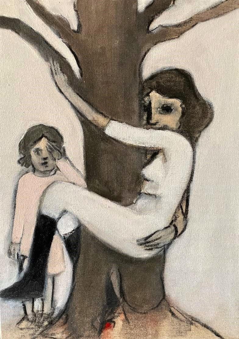 """BREZA CECCHINI RÍU """"Abrazo fantasma"""", Óleo sobre lienzo, 40 x 30 cm, 2019"""