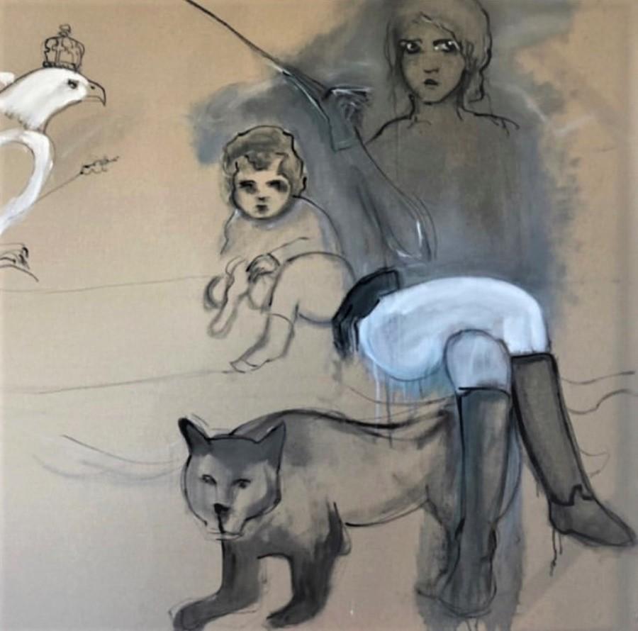 """BREZA CECCHINI RÍU """"Sentados"""", Óleo sobre lienzo, 120 x 120 cm, 2019"""