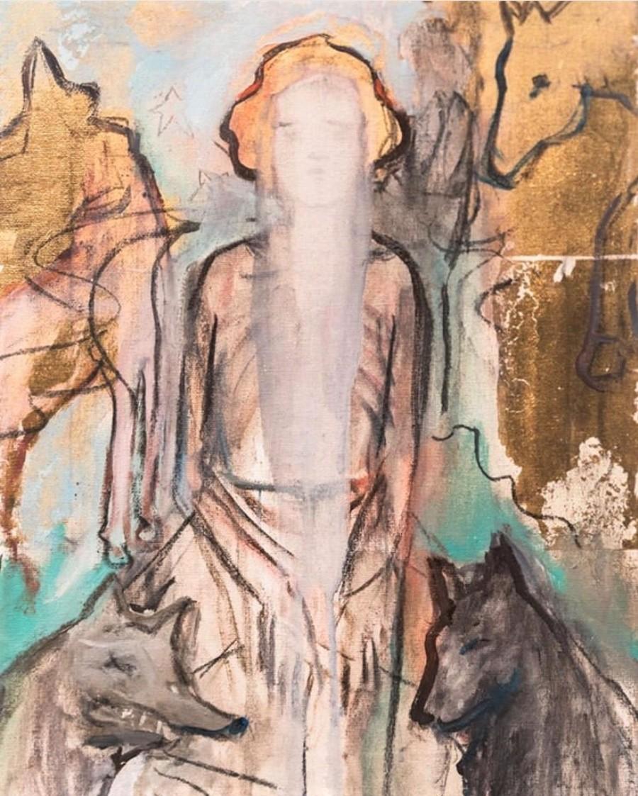 """BREZA CECCHINI RÍU """"Oros y velo"""", Óleo y pan de oro sobre lienzo, 40x 30 cm, 2016"""
