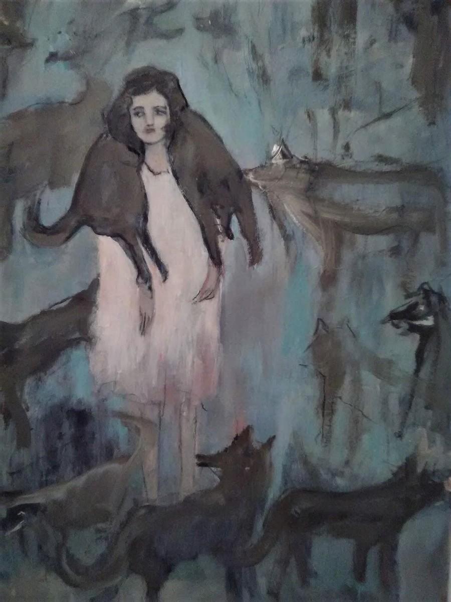 """BREZA CECCHINI RÍU """"Ella y bosque de lobos"""", óleo sobre lienzo, 80,5 x 53,5 cm, 2017"""
