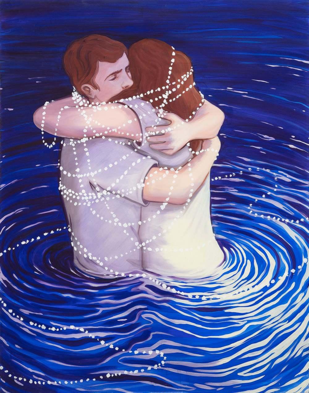 La nécessité d'un câlin, oil on canvas, 130x100cm, 2017 Lise Stoufflet   Alba Herrero   Mujeres Mirando Mujeres