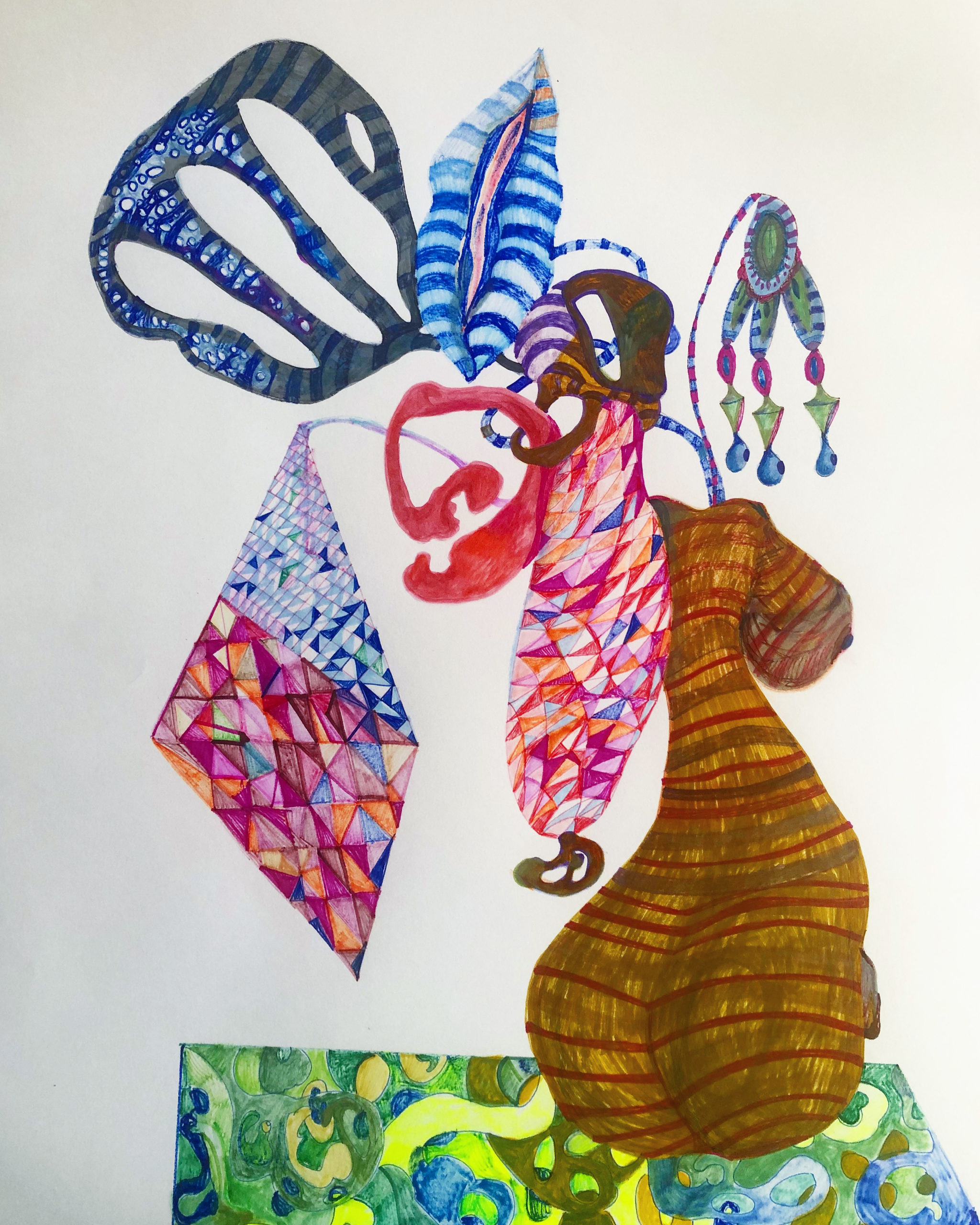 «Estudios para macetas de tripitas» dibujo/ tinta/lápices sobre papel, 2020.2 CITLALLY MIRANDA. YLONKA NACIDIT-PERDOMO   VII MUJERES MIRANDO MUJERES