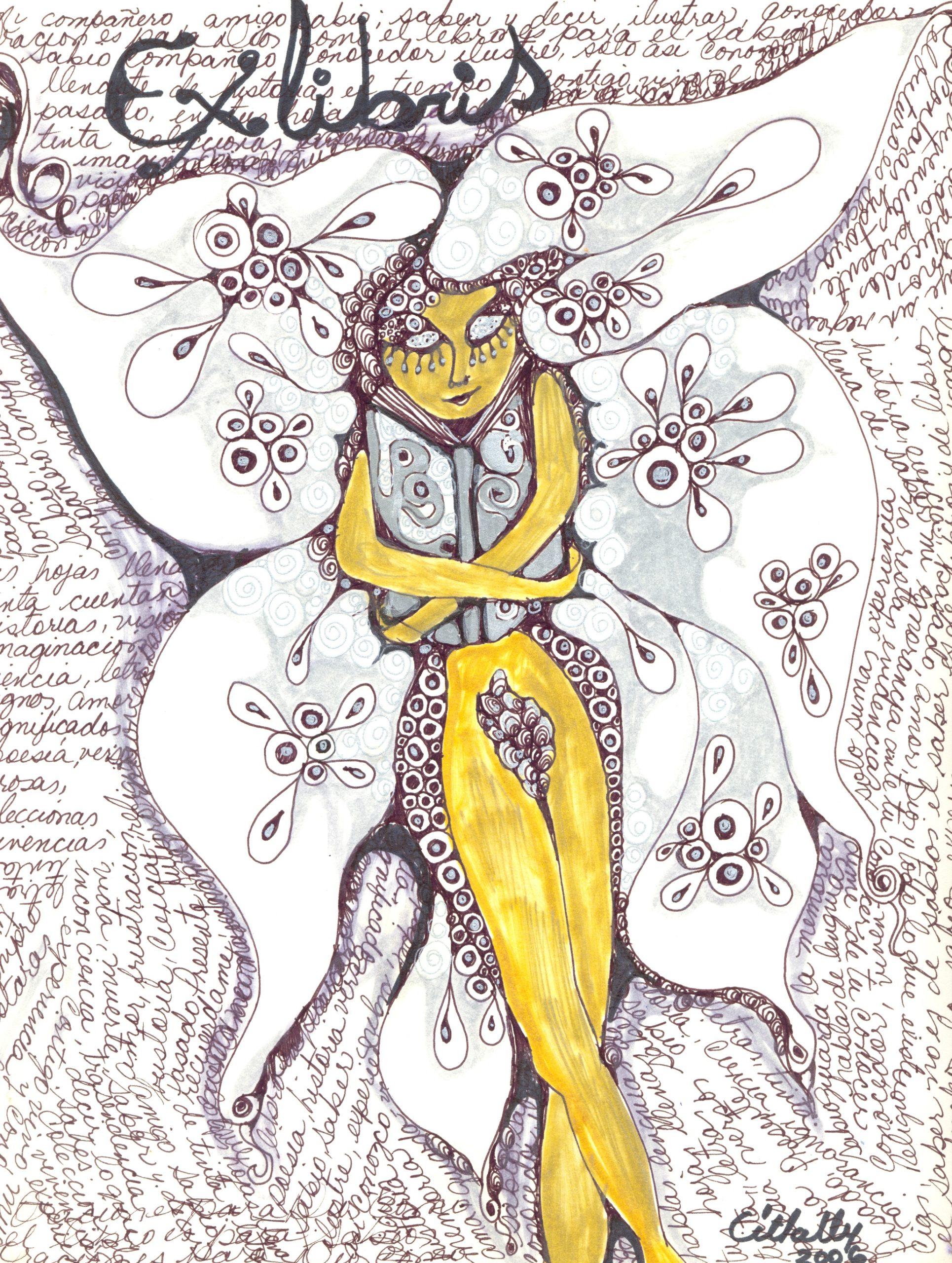 «Ex libris» dibujo/ tinta/lápices sobre papel, 2006 CITLALLY MIRANDA. YLONKA NACIDIT-PERDOMO   VII MUJERES MIRANDO MUJERES