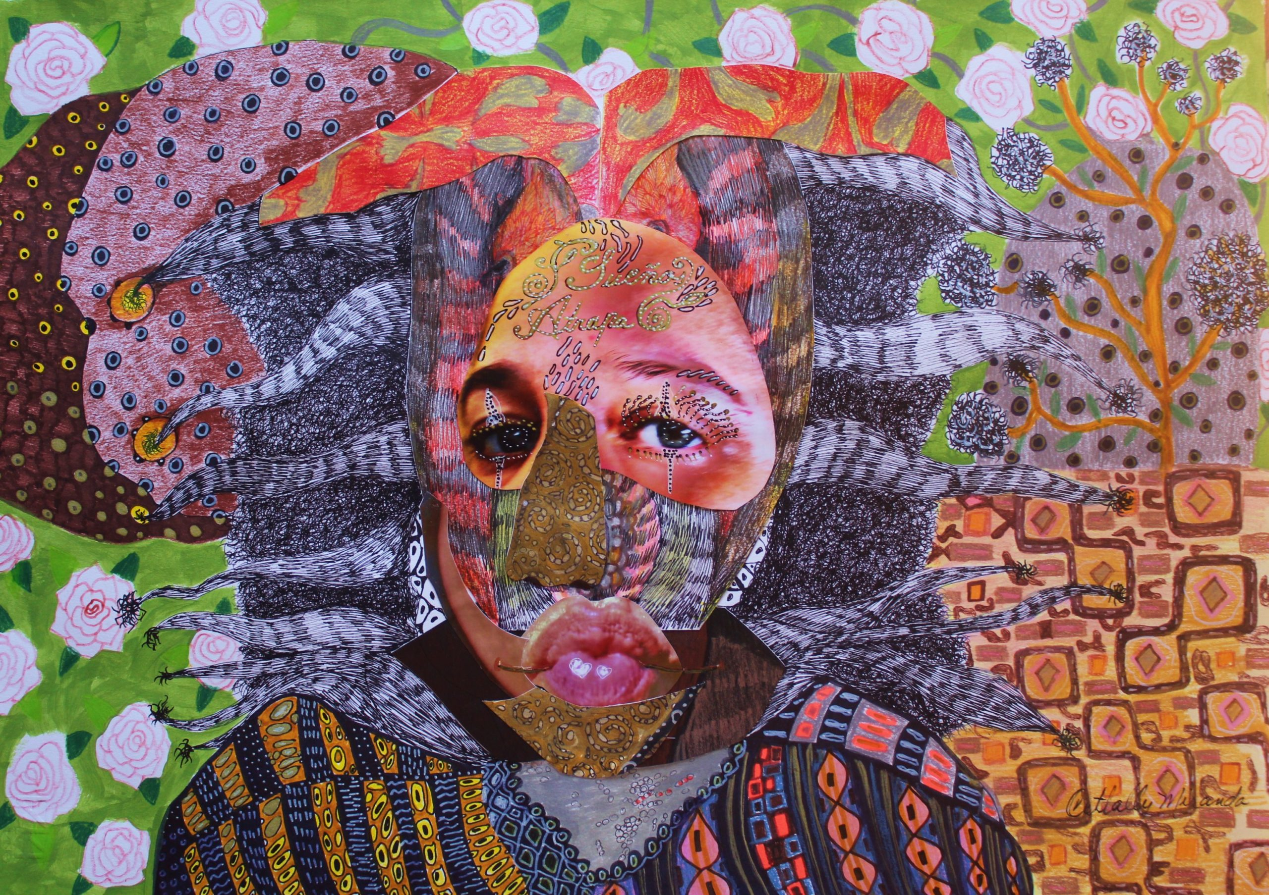 «Payasa atrapa sueño» collage/dibujo/ tintas sobre papel, 2009 CITLALLY MIRANDA. YLONKA NACIDIT-PERDOMO   VII MUJERES MIRANDO MUJERES