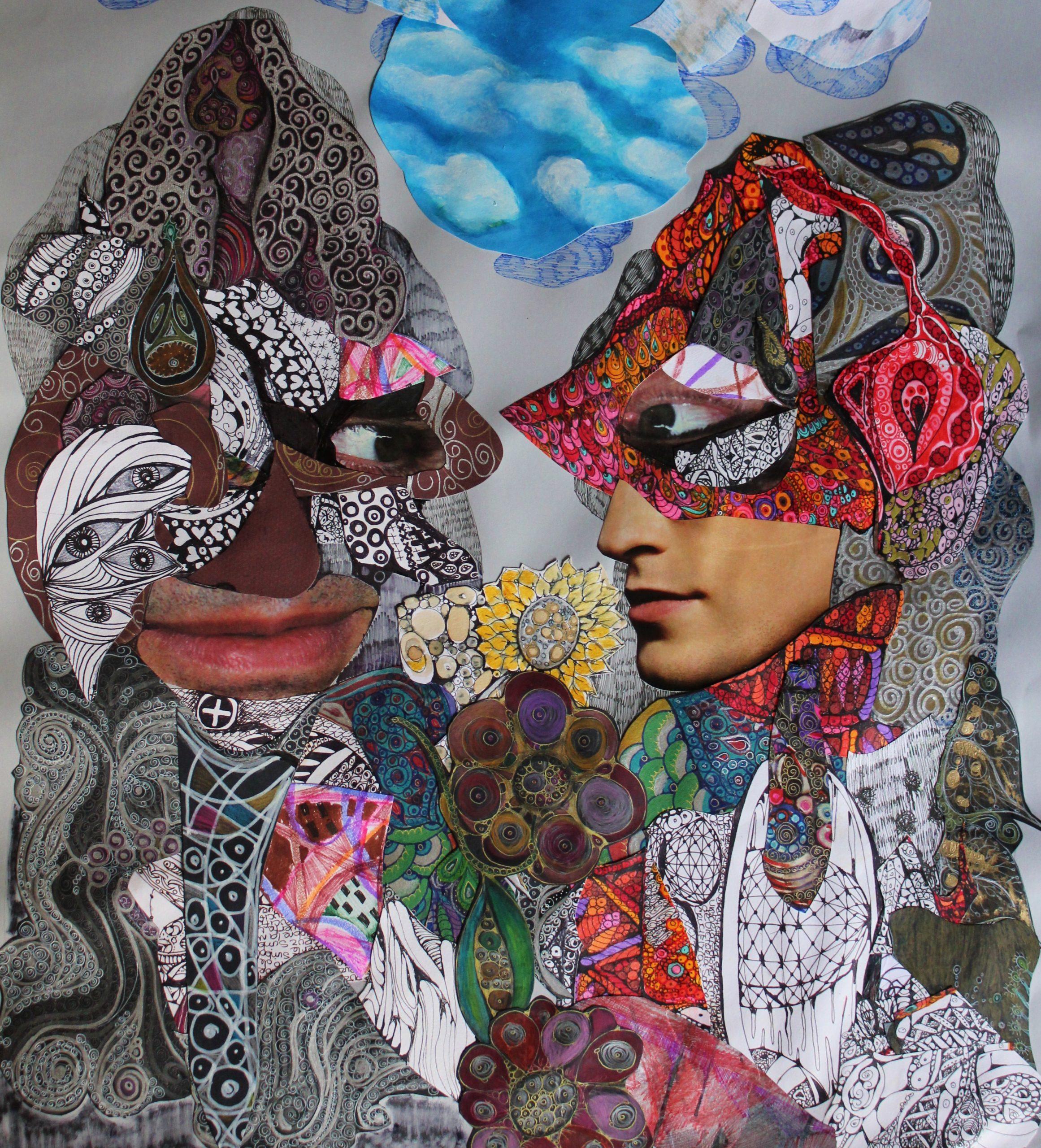 «Se casaron muy enamorados, que bella estaba la novia» collage/dibujo/ tinta, papel, 2009 CITLALLY MIRANDA. YLONKA NACIDIT-PERDOMO   VII MUJERES MIRANDO MUJERES