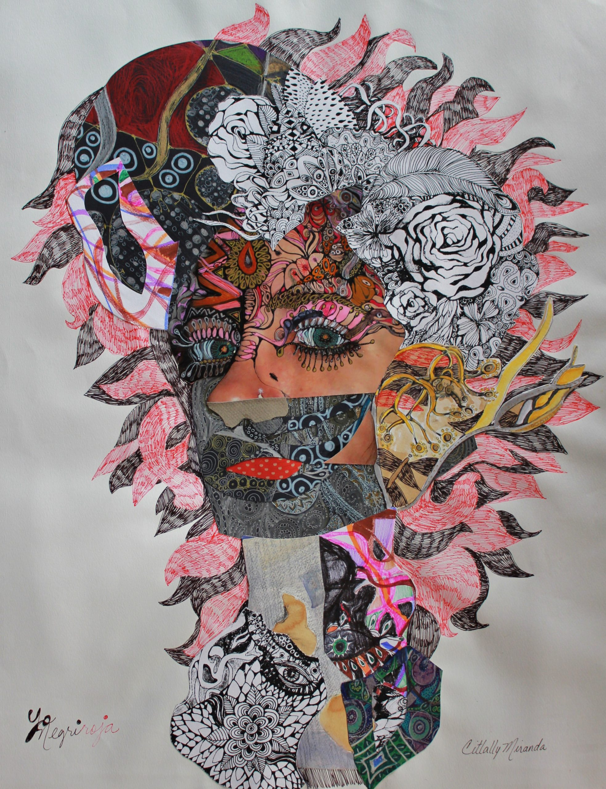 «Yo negriRoja» collage/dibujo/tinta/lápices sobre papel, 2008 CITLALLY MIRANDA. YLONKA NACIDIT-PERDOMO   VII MUJERES MIRANDO MUJERES