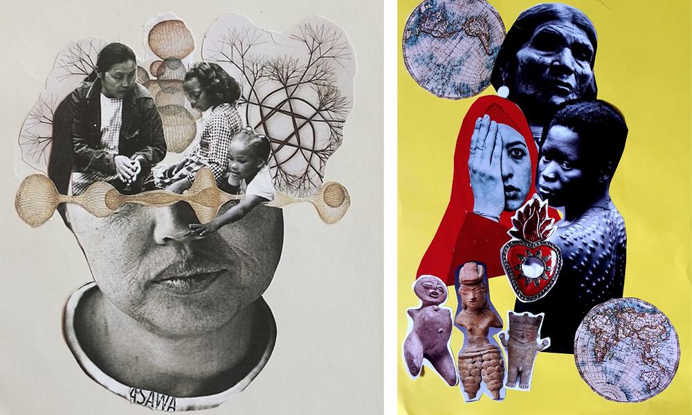 Ana Bayo - La Santa Patrona - Rebeka Elizegi | Taller de Collage | Jornadas Resiliencia, Mujer y Arte | MUJERES MIRANDO MUJERES