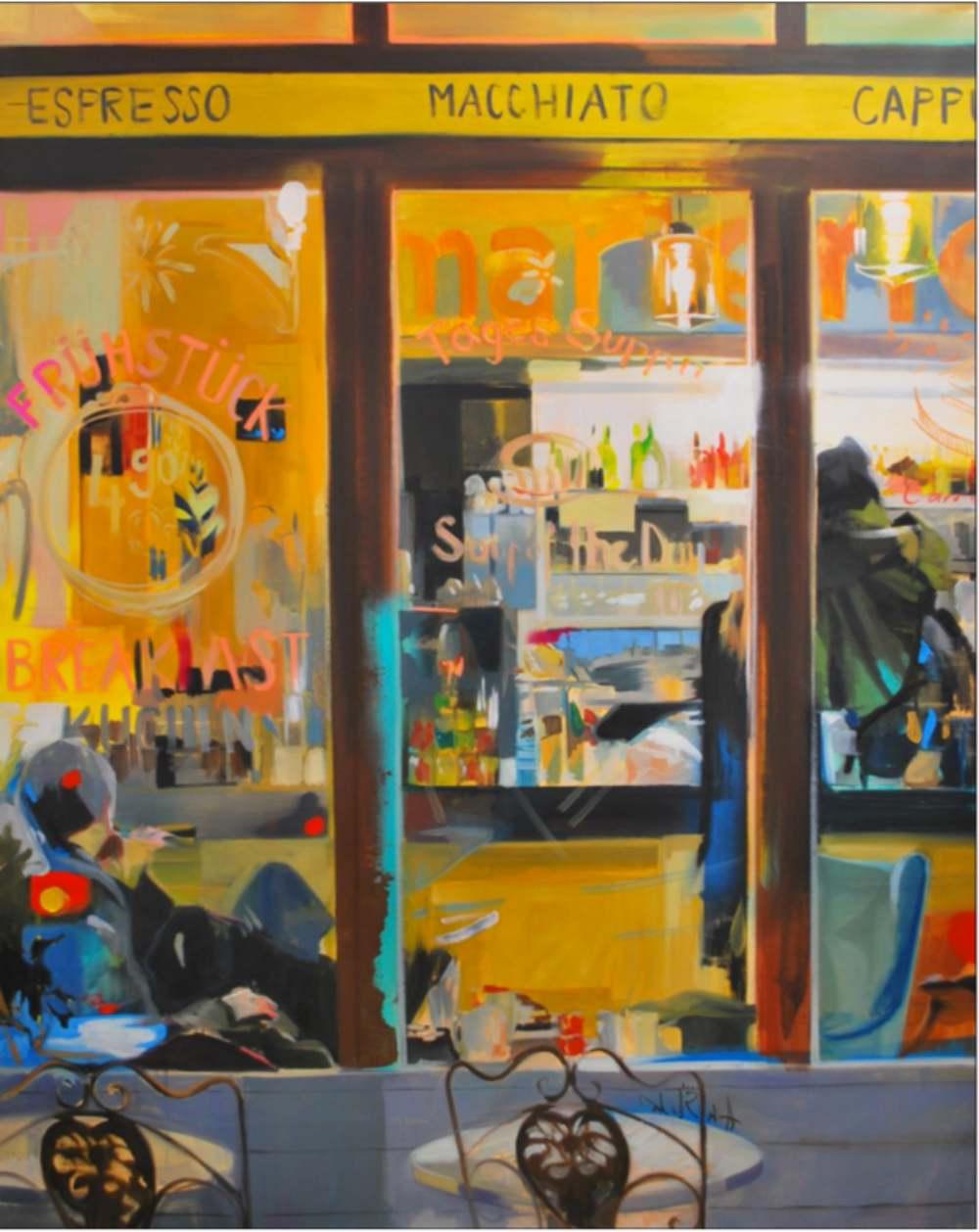 Lo mejor del día. Óleo/lienzo. 162 x 130 cm LAURA NIETO | LUISA PITA |MUJERES MIRANDO MUJERES