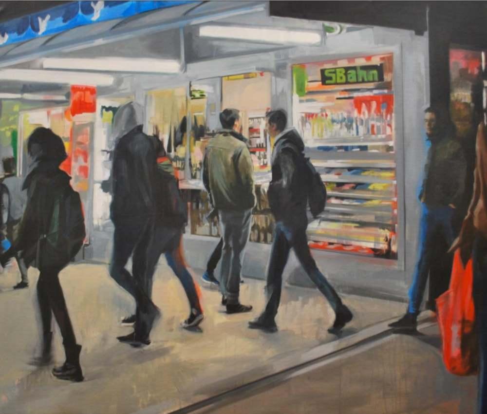 Back to Berlin. Mixta/lienzo. 120 x 140 cm LAURA NIETO   LUISA PITA  MUJERES MIRANDO MUJERES