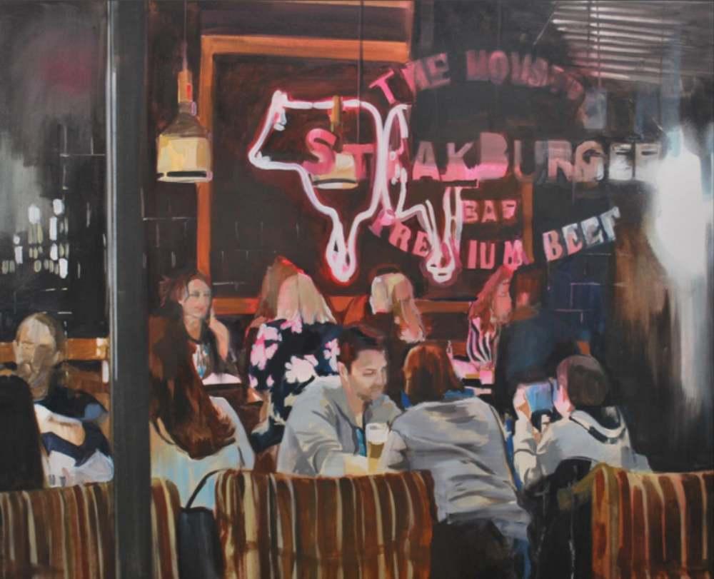 Sábado. Mixta/lienzo. 81 x 100 cm LAURA NIETO   LUISA PITA  MUJERES MIRANDO MUJERES