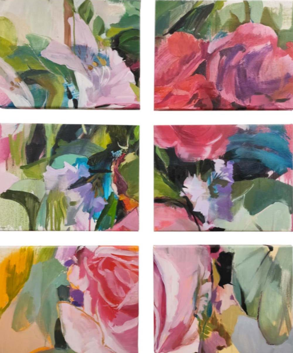 Octubre. Óleo/lienzo. 6 ud. 27 x 35 cm LAURA NIETO   LUISA PITA  MUJERES MIRANDO MUJERES