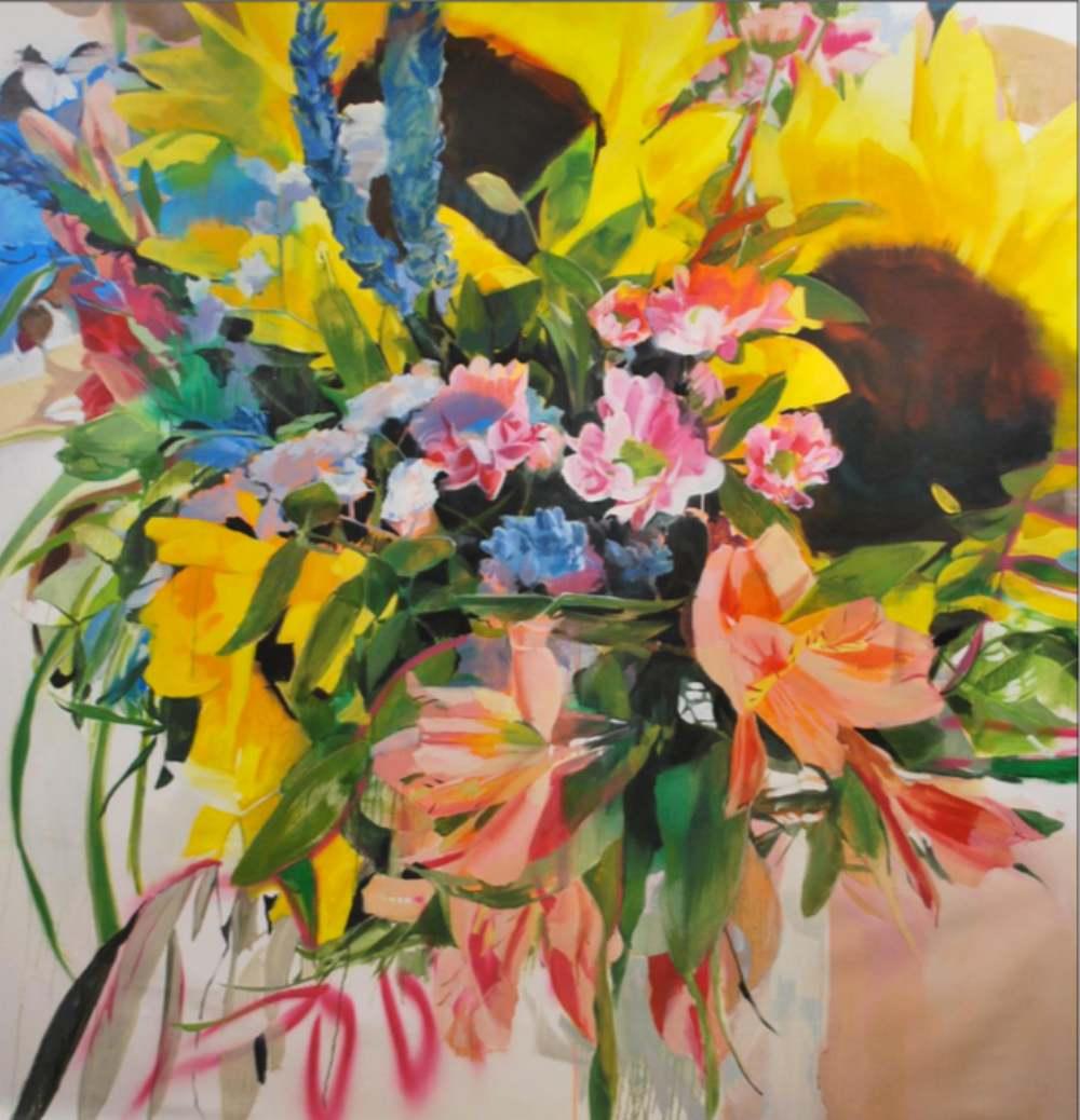 Septiembre - Girasoles. Mixta/lienzo. 194 x 200 cm LAURA NIETO   LUISA PITA  MUJERES MIRANDO MUJERES